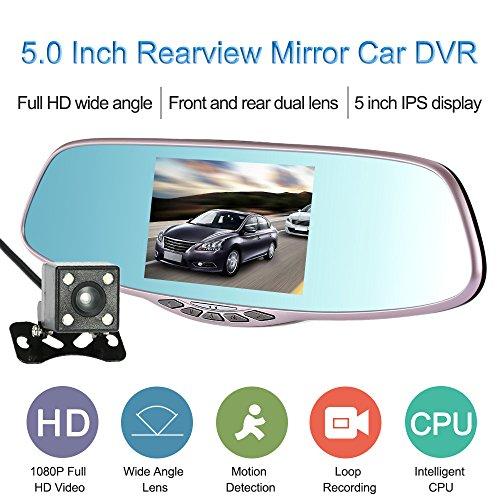 KKmoon 5.0 Pouces 1080p 2 Lentille Caméra Rétroviseur Enregistreur de Voiture avec G-Sensor / Parking Moniteur