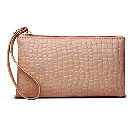 HuaYang Stylish Women PU Leather Coin Credit Card Clutch Hand Bag Phone Holder Wallet x1(Pink)