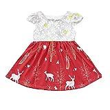 Babykleider,Sannysis Baby Mädchen Festlich Kleid Kleinkind Kinder Kurzarm Hirsch Floral Dress Weihnachten Basic Kleid Weihnachtsrotwilddruck Outfits