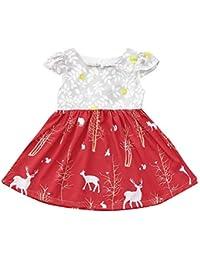 LEvifun Vestito Bambina Modelli Bello Neonate Mio Primo Natale Costume  della Santa del Partito del Vestito 103d5e80a8d