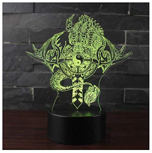 Ocho Diagramas Tema Del Tótem Del Dragón Lámpara 3D Led Luz Nocturna 7 Cambio De Color Lámpara De Estado De Ánimo Decoración Del Hogar-Touch