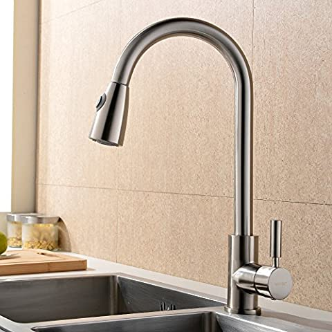 Taps UK Modern Stainless Steel Single Lever Pull Down Pull Monobloc Out Swivel Spout Spray Sink Kitchen Mixer Taps, Solid Polished Brushed Steel Kitchen