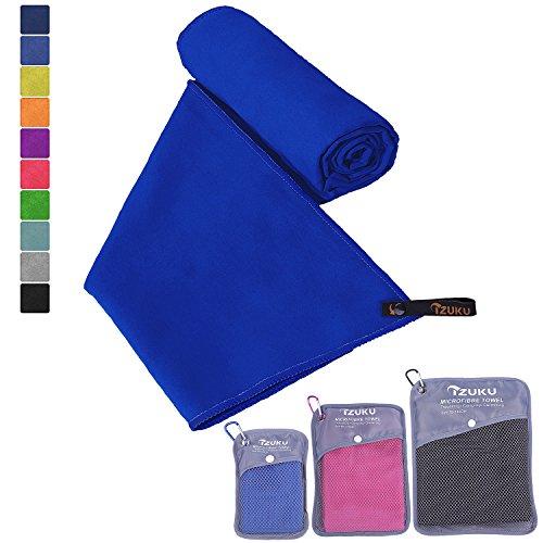 Mikrofaser Handtücher in 7 Größen/ 10 Farben ultraleicht, super saugfähig und schnelltrocknend IZUKU® Handtuch Mikrofaser antibakteriell und schmutzabweisend mit Tragetasche als Geschenk 70x140cm Dunkelblau