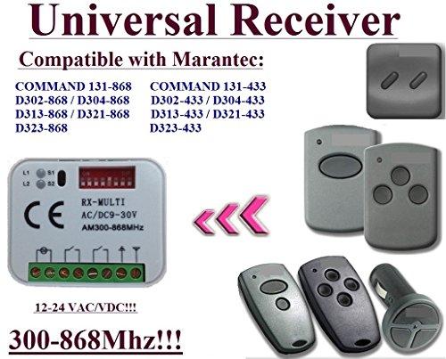 Universal Receiver kompatibel für Marantec 868,3 MHz D302 - 868/D304 - 868/D313 - 868/D321 - 868/Command 131 - 868 Fernbedienungen. 2-channel Rolling Fixed code 300 mhz-868mhz 12 - 24 VAC/DC Receiver - Control Board Torantriebe