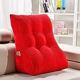 Schienale per l'allattamento con ampio schienale, cuscini per divani triangolari, morbido pacchetto per letto, cuscino per l'ufficio lombare (Colore : Rosso, dimensioni : 45*30*55cm)