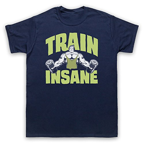Train Insane Gym Workout Slogan Herren T-Shirt Ultramarinblau