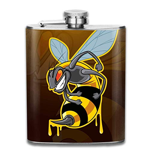 he biene insect maskottchen mode tragbare edelstahl flachmann whisky flasche für männer und frauen 7 oz ()