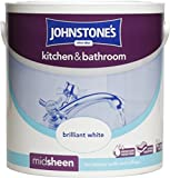 Johnstone's 303966 2.5 Litre Kitchen and Bathroom Emulsion Paint - Brilliant White