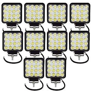 Tempo di Saldi® – Faros cuadrados de trabajo, 16 LED, faros de profundidad, 48W, para vehículos y barcos, 10 unidades