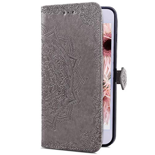 Uposao Kompatibel mit Huawei P30 Pro Handyhülle Handytasche Mandala Blumen Muster Schutzhülle Flip Case Brieftasche Klapphülle Wallet Leder Hülle Cover Tasche Ständer Ledertasche,Grau -