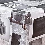 laro Wachstuch-Tischdecke Wachstischdecke Tischwäsche Abwaschbar Meterware Wachstuchdecke G02, Muster:Steine grau-Weiss, Größe:140x200 cm