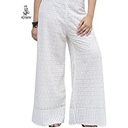 KYRON® COTTON CHICKEN (LAKHNAWI STYLE) HEAVY EMBROIDERY PALAZZO PANT FOR WOMENS (WHITE)