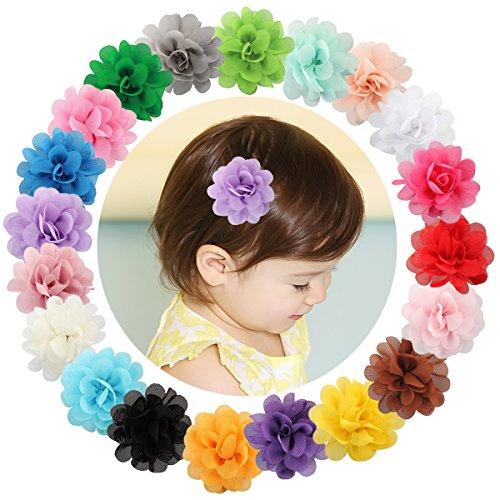 Txian 20 fermagli per capelli con fiore in chiffon, con clip a coccodrillo, per bambina
