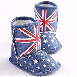 GenialES Neve Stivali Primi Passi Soffice Inverno Bambino Autunno Antiscivolo Per Bambini Da 0 a 18 Mesi 11cm,0-6meses blu