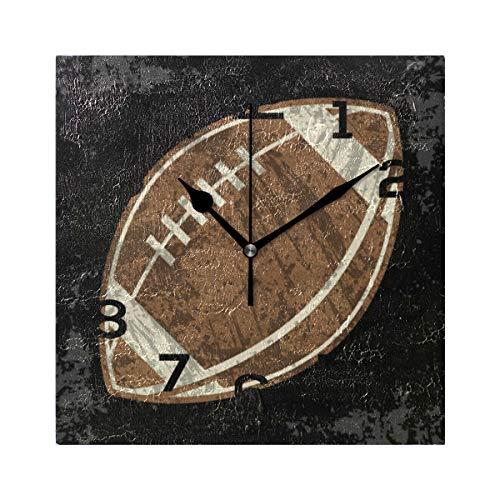 AMONKA Vintage Old Football Soccer Sports Quadratische Wanduhr Nicht tickend geräuschlose Acryl Uhren für Wohnzimmer, Schlafzimmer, Küche, Schule, Büro