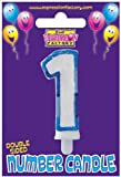 1st Birthday Candle - Blue glitter edge number 1 candle - great for adding to a birthday cake