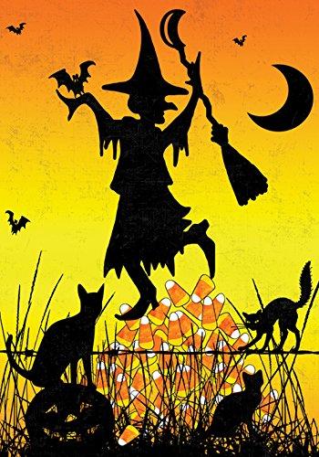 Toland Home Gartenflagge Mais, Hexe, 31,8 x 45,7 cm, dekorativ, bunt, Halloween, Katze, Kürbisschläger, Mond, Gartenflagge (Lustige Halloween-katze Witze)