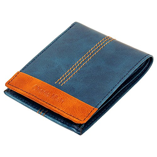 Charlie Klein Stylish Leather Wallet for Men (Blue & Brown)