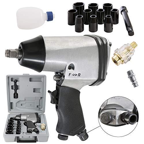 Arebos Druckluft-Schlagschrauber/Lösedrehmoment 310 NM/Antrieb 1/2 Zoll/Max. Arbeitsdruck 6,2 bar/Inkl 17 tlg. Stecknüsse-Set und Verlängerung
