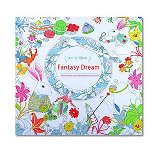 Erwachsene Malbuch,LCLrute 2017 Spaß Erwachsene Färbung Buch Entwürfe Stress Relief Malbuch Fantasy Dream (Regenbogen Tiara)