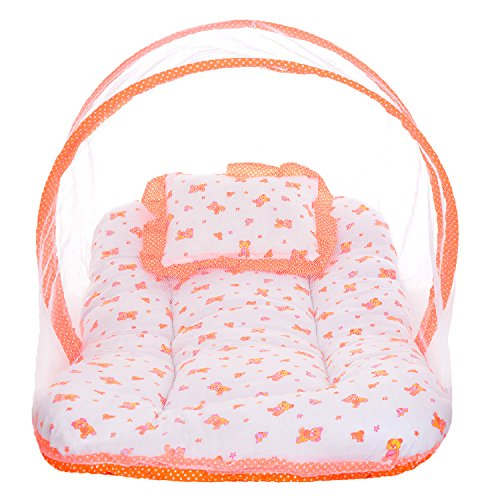 Littly Dual Color Bedding Set with Foldable Mattress, Mosquito Net and Pillow (Peach)