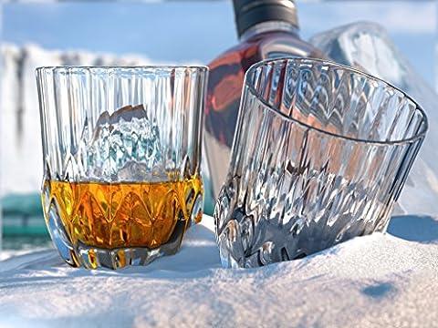 Glacier Verres à Whisky, Scotch par Ashcroft-Lot de 2verres. Unique, élégant, verre, passe au lave-vaisselle, liqueur ou Bourbon gobelets. Ultra-clarity Verrerie.