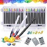 Qhui Rotuladores Lettering 24 Colores Profesionales y 2 Pluma de Pincel de Agua y 3 Plantillas,...
