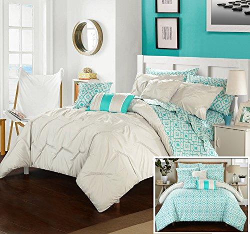 Perfect home 10teiliges Marly Pinch Bundfaltenhose bedruckt wendbar King Bett in einem Beutel Tröster Set Brick mit Bogen Set, Mikrofaser, grau, Queen (Bett In Einem Beutel-ensembles)