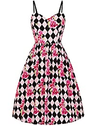 29ff1a806e86 Pretty Kitty Fashion Vintage 1950s Pink Harlequin Rose Retro Swing Dress