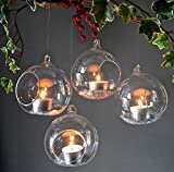#4: Crazy Sutra Glass Tealight Candle Holders _transparent 4pc Borosil - Medium with 4 tealight