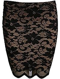 PILOT® Women's Scallop Edge Lace Mini Skirt in Black
