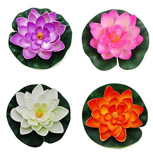 Gemini_mall Flottant Étang Décoration Nénuphar/Fleur de Lotus en Mousse, 10cm/10cm, Lot DE 4 4 Colors
