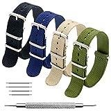 Bracelet de Montre 4 Paquet Bracelet Nato 16mm 18mm 20mm 22mm 24mm Bandes en Nylon Balistique Suisse Zulu Bracelet avec Boucle en Acier Inoxydable