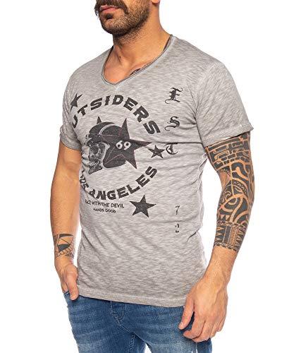 LARAZÉ Race to Hell Herren T-Shirt Tee Kurzarm Shirt Mit V-Ausschnitt S-XXL, Größe:XXL, Farbe:Silber