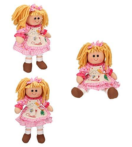 Betz 3 tlg. Kinder Stoffpuppen Set CAMILLA Größe ca.30 cm Farbe pink (Camilla Stoff Set)
