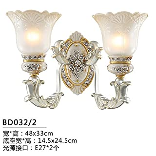 LIYAN Wall lamp Bedroom lamp Antique Bedside lamp Living Room Wall Lights in Europe Staircase Light Creative Aisle,BD032 Dual Head Wall Lights, The LED Light Source