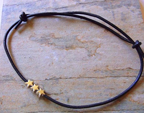 minimal-black-leather-with-silver-stars-friendship-anklet
