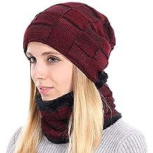 BOYOU Unisex Hombres Mujeres Invierno Cálido Sombrero de Punto Al Aire  Libre de Felpa Engrosamiento 18ef70617dd