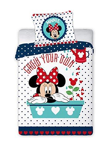 Kinderbettwäsche Disney III 2-teilig 100% Baumwolle 40x60 + 100x135 cm mit Reißverschluss (Minnie Mouse rot)