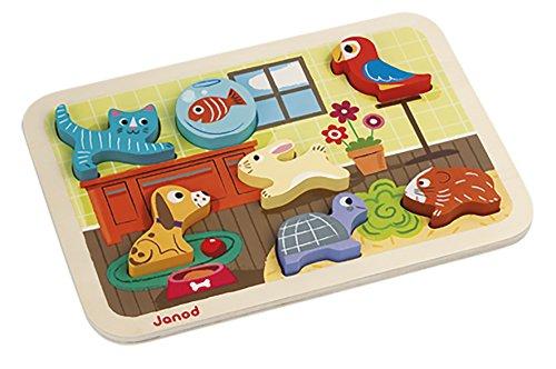 Janod - Chunky, Puzzle para encajar animales domésticos (J07024)