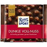 RITTER SPORT Dunkle Voll-Nuss (10 x 100 g), ganze Haselnüsse in einer dunklen Tafelschokolade, Halbbitterschokolade, mit mindestens 50% Kakaoanteil