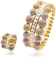 Woman Multicolour 2pcs/Set Jewelry Bracelet Ring Set Round Ball Copper White Square Zircon Plated 18K Rose Gol
