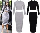 Nueva mujer Celeb Kim Kardashian Polo Crop Top y Falda con fruncido Midi Bodycon de Reino Unido tamaño 8–14 Multicolor gris M/L 40-42