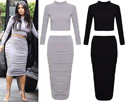 Nueva-mujer-Celeb-Kim-Kardashian-Polo-Crop-Top-y-Falda-con-fruncido-Midi-Bodycon-de-Reino-Unido-tamao-8--14