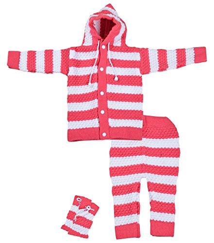 Kuchipoo Baby Girls' Regular Fit Sweater Set (Pink, 0-6 Months)
