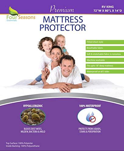 Four Seasons Essentials Matratzenschoner mit 5 Seiten, wasserdicht RV King weiß