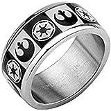 Disney Star Wars - Anello in acciaio inox con simbolo dell'impero galattico e dell'alleanza ribelle