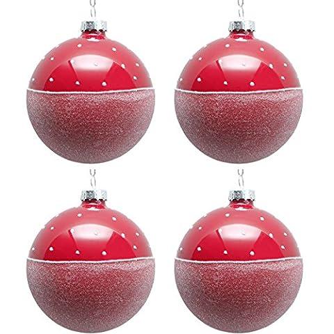 Kugel Baumkugel SNOW 4er Set Glas | rot weiß | Pünktchen gefrostet | Baumschmuck Weihnachten Weihnachtbaumschmuck Werner Voss