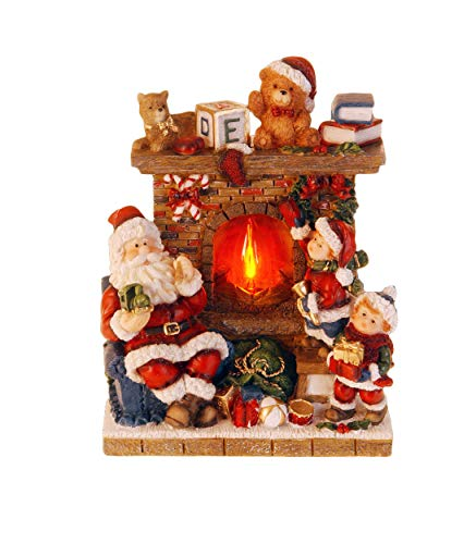 made2trade Weihnachtsfigur mit echtem Feuer-Effekt - LED Beleuchtung - 20cm - Teddy