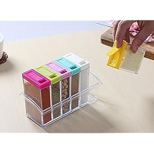 Bulfyss Premium Seasoning Box Pepper Salt Spice Rack Jar Box See Through 6 Crystal Kitchen Dining Storage Containers